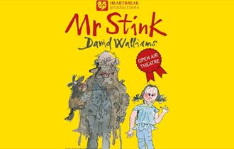 Yellow poster displaying a drawn cartoon of Mr Stink and Annabelle with the title 'Mr Stink by David Walliams'