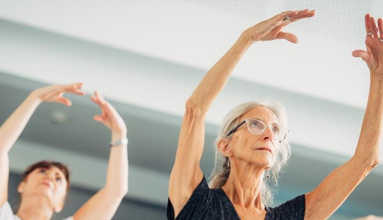 two ladies doing ballet in the mirror