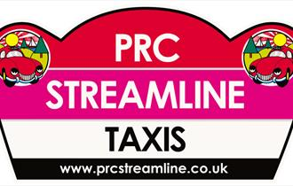 PRC Streamline Taxis logo with two anthropomorphic red cars and the website www.prcstrealine.co.uk