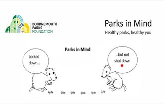 Two hand drawn mice talking about virtual events with a red heart and logo Parks