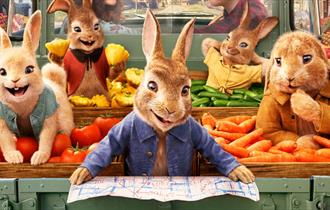 Bright, colourful, animated image of rabbits in jackets sitting in shelves of vegetables in a green grocers.