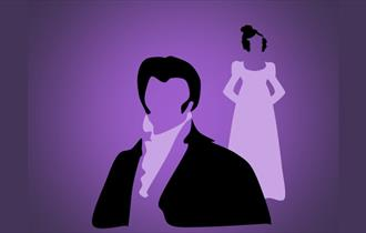 Simple purple poster displaying the silhouettes of Pride and Prejudice