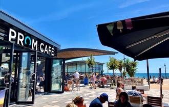 View of prom cafe with sea in background