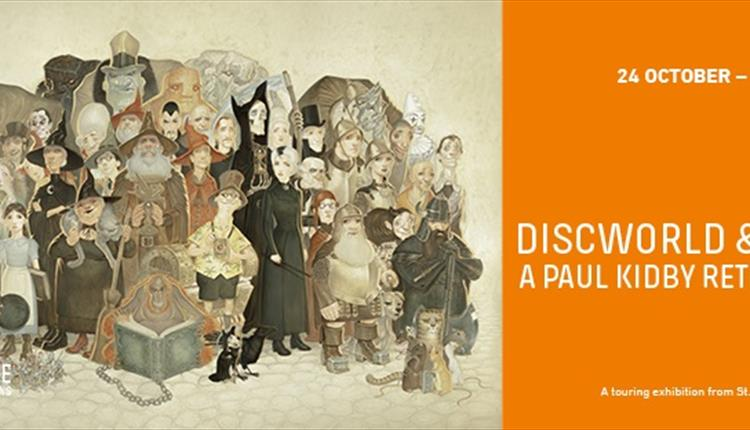 Discworld Massif illustration with loads of people dressed in historic clothing