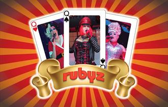 Three card with portrait images and gold in the Rubyz logo