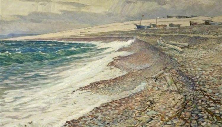 Seaside painting of the sea and beach