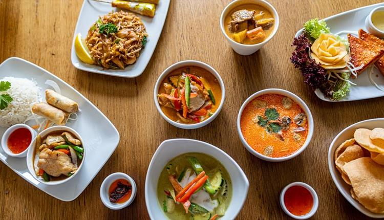 Delicious colourful plates of food