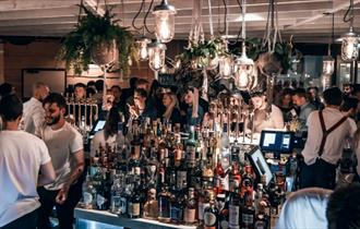 People enjoying themselves in a bar.