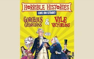 Colourful Cartoon poster representing the live performance of Horrible Histories