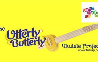 Bright yellow background with an illustrated ukulele