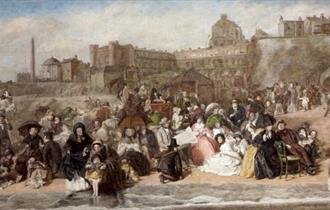 Detailed painting with lots of people back in history on the beach