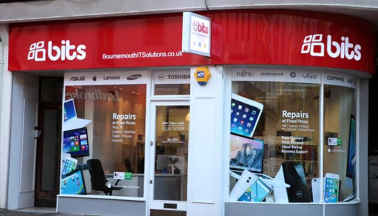 The front of bits shop.