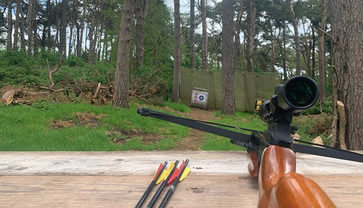 Cross bow and arrows lay resting on a wooden beam with the targets in the distance