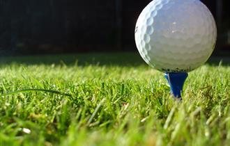 Macro image of golf ball on a blue tee.