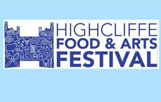 logo for the food and arts event, blue castle with food related imagery filled inside