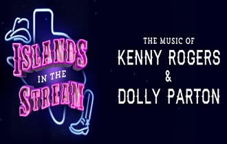 text with cowboy boot symbol 'islands in the stream' in pink, illuminated text effect