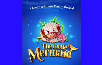 The little mermaid, crab dancing in a white open oyster shell on a blue sea background
