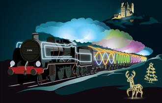 Steam train with snow, Christmas tree and deer and lights in 3D