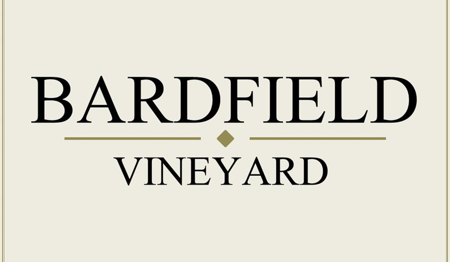Bardfield Vineyard logo, ecru background with black text