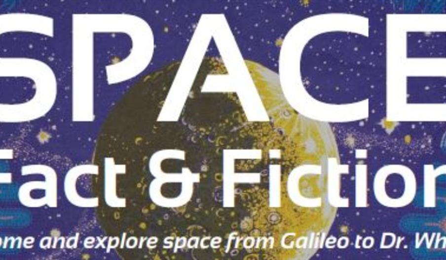 Poster advertising Braintree Museum space fact and fiction event. Blue background with a moonscape and white text