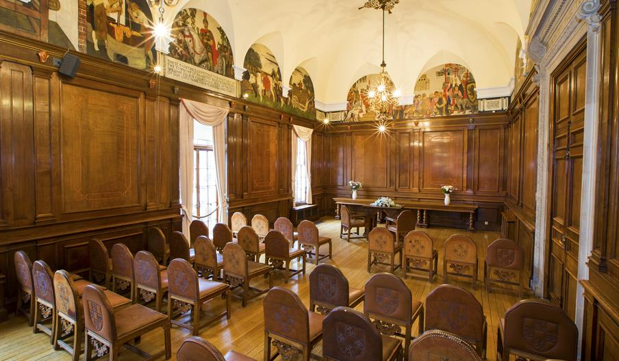 Braintree Town Hall Wooden Panelled Council Chamber Set Up In Board Room Style
