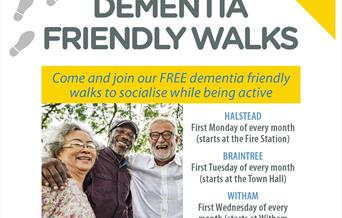 A poster of the Dementia Friendly Walks in Braintree, Halstead and Witham.