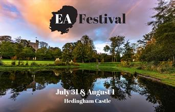 Picture of lake at Hedingham Castle with sunset. EA Festival promo image for July 31 and August 1