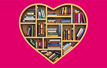 Pink background with a heartshaped bookcase filled with books