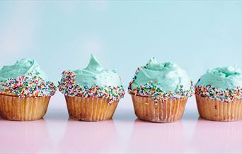 Cupcakes with frosting and sprinkles