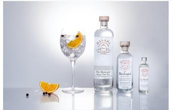 Bottles of gin and glass