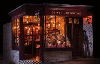 Shop Front Lit up at Night