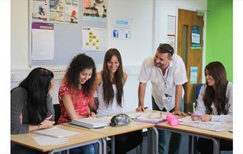 Students enjoying an English class
