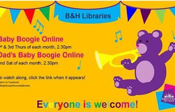 advert for Baby Boogie music, songs and rhymes event for Under 5's