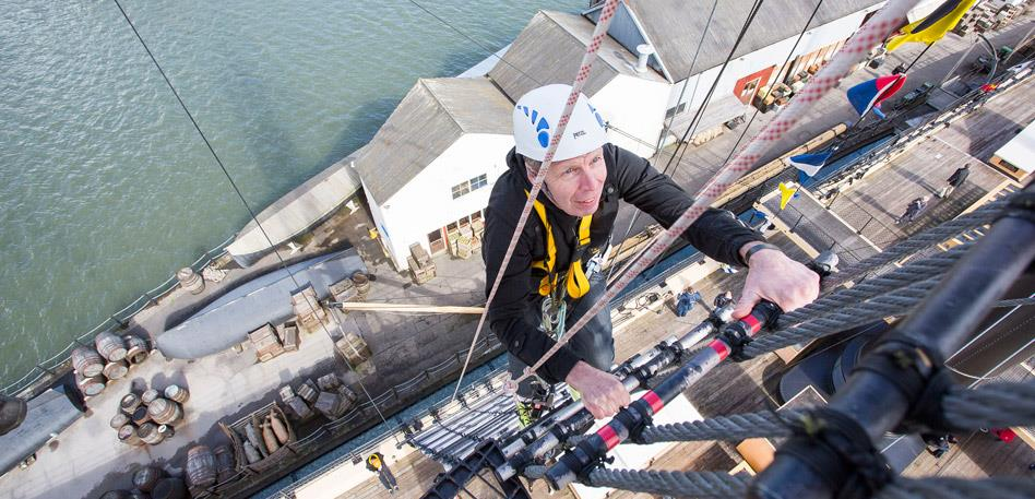 Recommended for Groups in Bristol - Man climbing the rigging of Brunel's ss Great Britain: Credit Adam Gasson