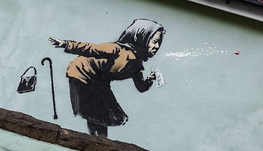 Banksy Aachoo! mural in Totterdown