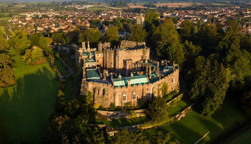 Aerial shot of Berkeley Castle Bristol