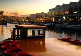 Bristol Ferry in Bristol harbour at sunset