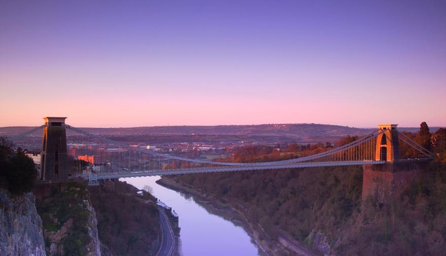 Clifton Suspension bridge with purple sky behind