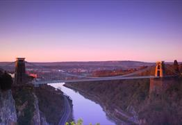 Clifton Suspension bridge with purple sky behind