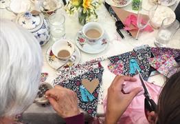 The bunting-making afternoon tea at Heartfelt Vintage