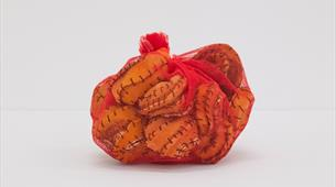 Veronica Ryan, Pouch (2019-20), Net, orange peels, black thread. Work courtesy the artist and Paula Cooper Gallery, New York. Photograph by Max McClur