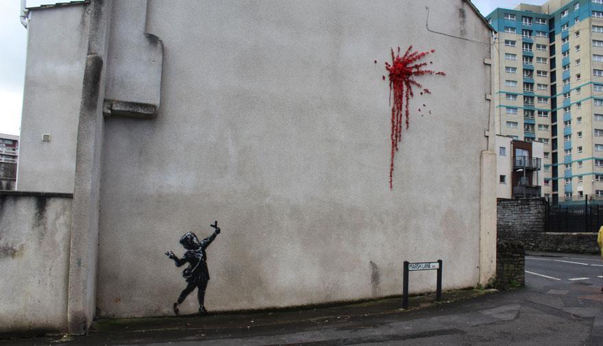 Banksy Valentine's Day Mural in Barton Hill Bristol