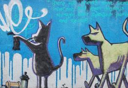 Banksy Graffiti Cat and Dog Bristol