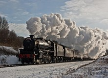 East Lancashire Railway train in the snow