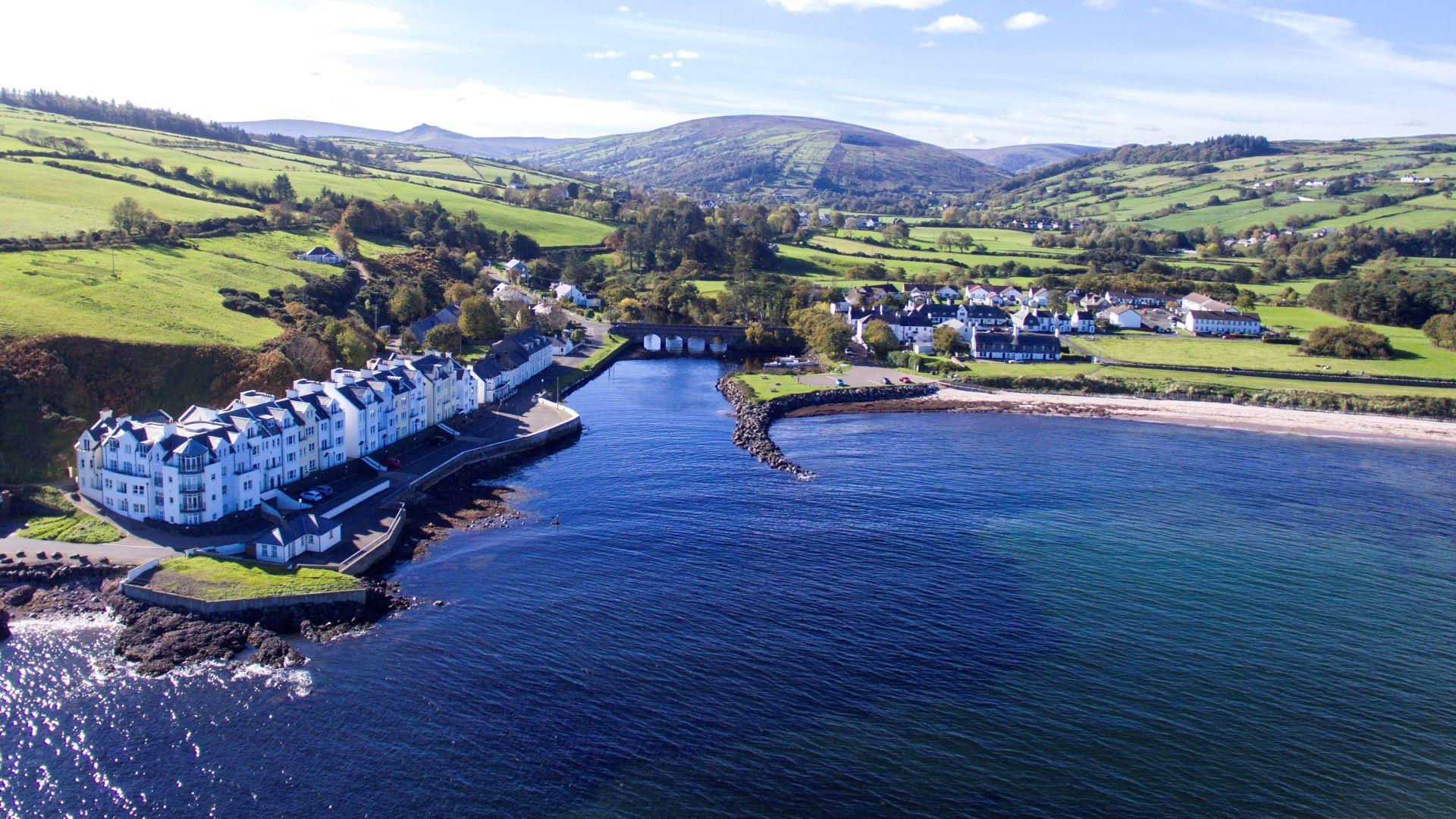 An aerial view of Cushendun Villages in the Causeway Coast and Glens.