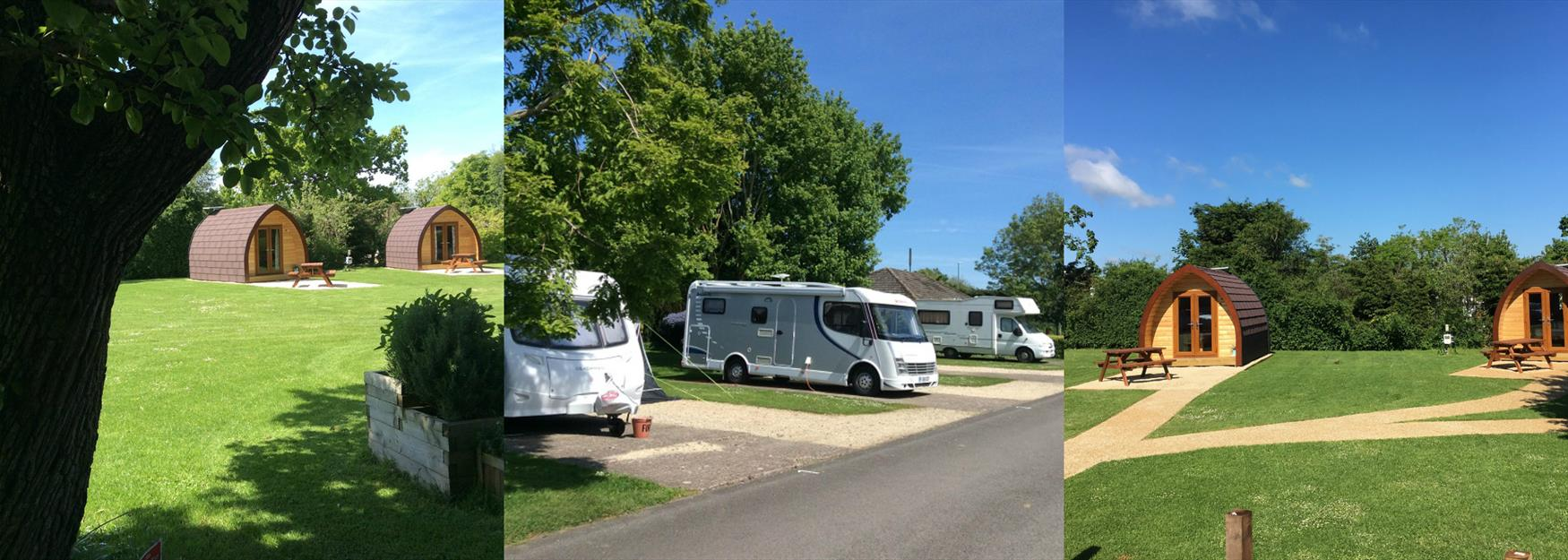 Collage of campsite facilities in Cheltenham, including caravan sites and camping pods