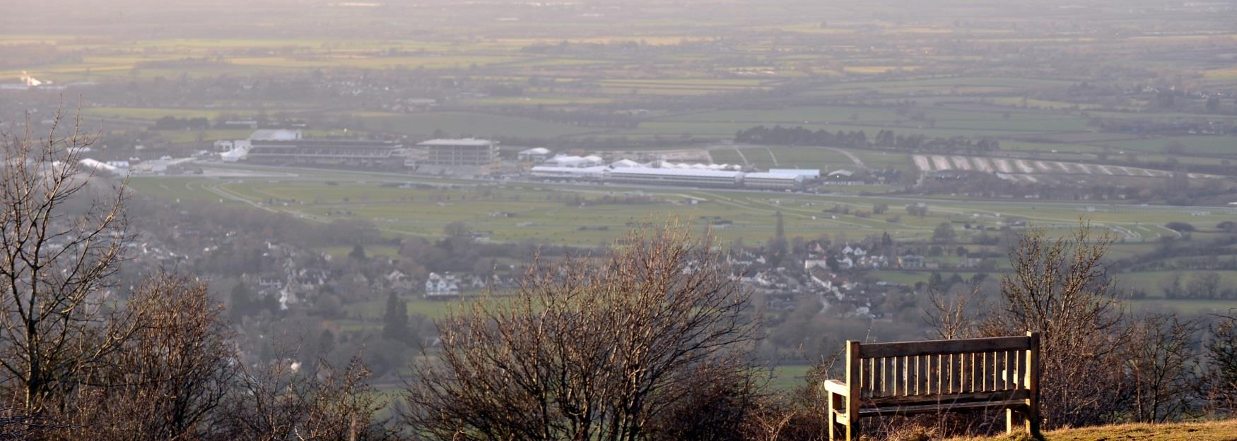 Spectacular view from Cleeve Hill overlooking Cheltenham racecourse