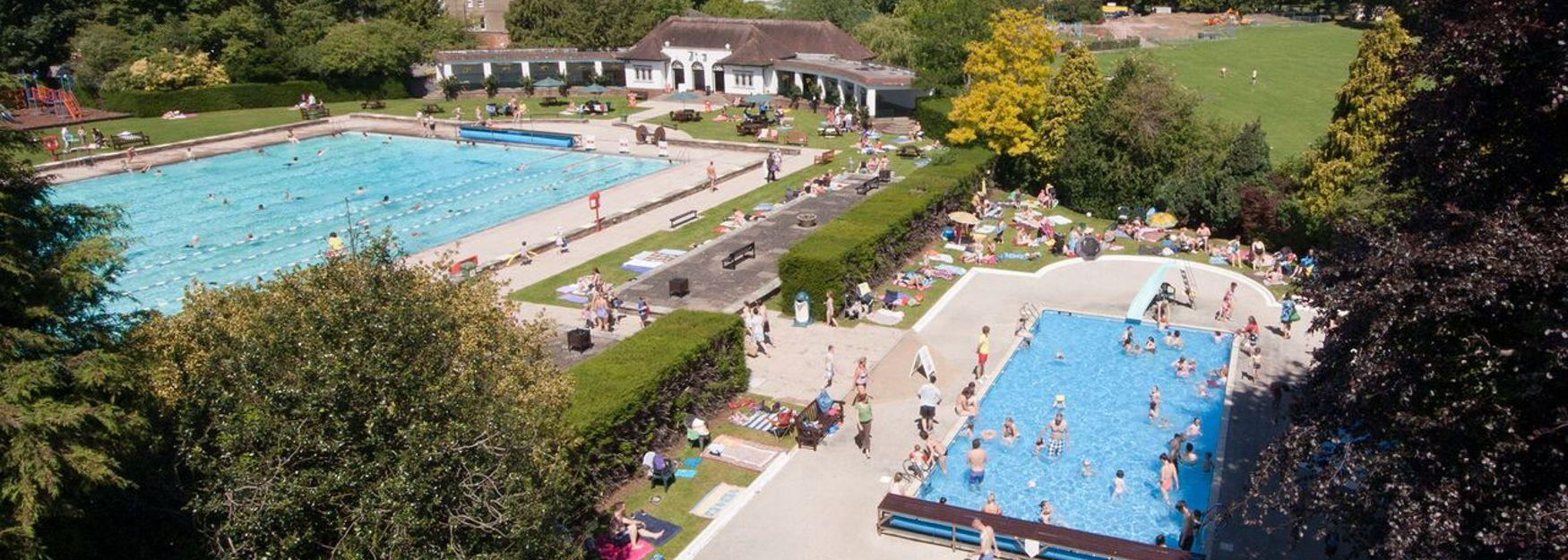 Aerial view of Sandford Lido, the outdoor pool in Cheltenham