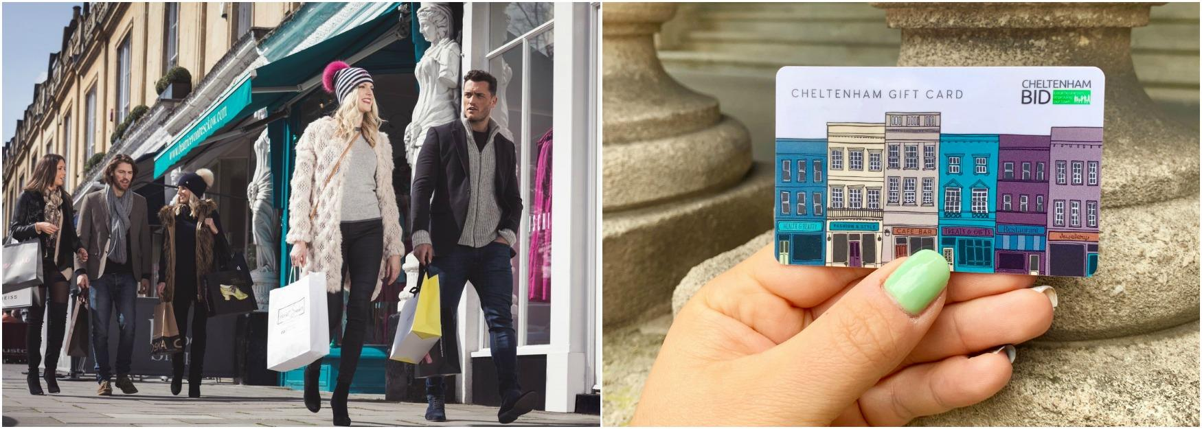 People shopping in Cheltenham alongside a photograph of the Cheltenham Gift Card