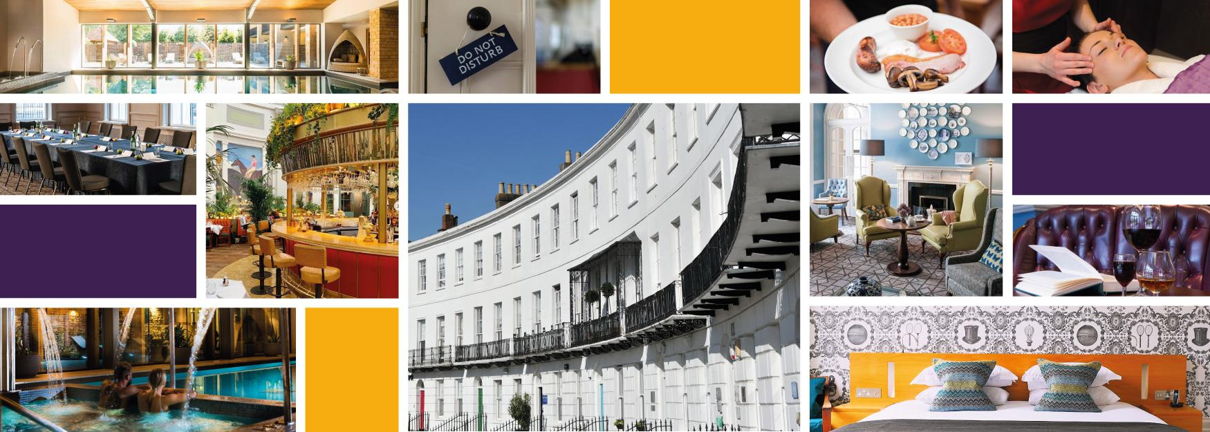 Collage of images of Cheltenham hotels and spas.